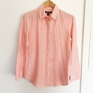 Tommy Bahama linen striped button up shirt Xs